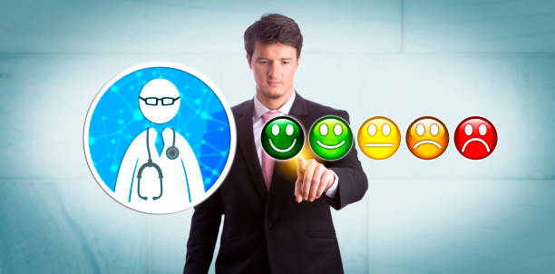 Smiling Manager Giving Very Good Rating To GP stock photo