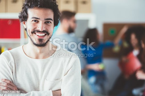 University student looking at camera