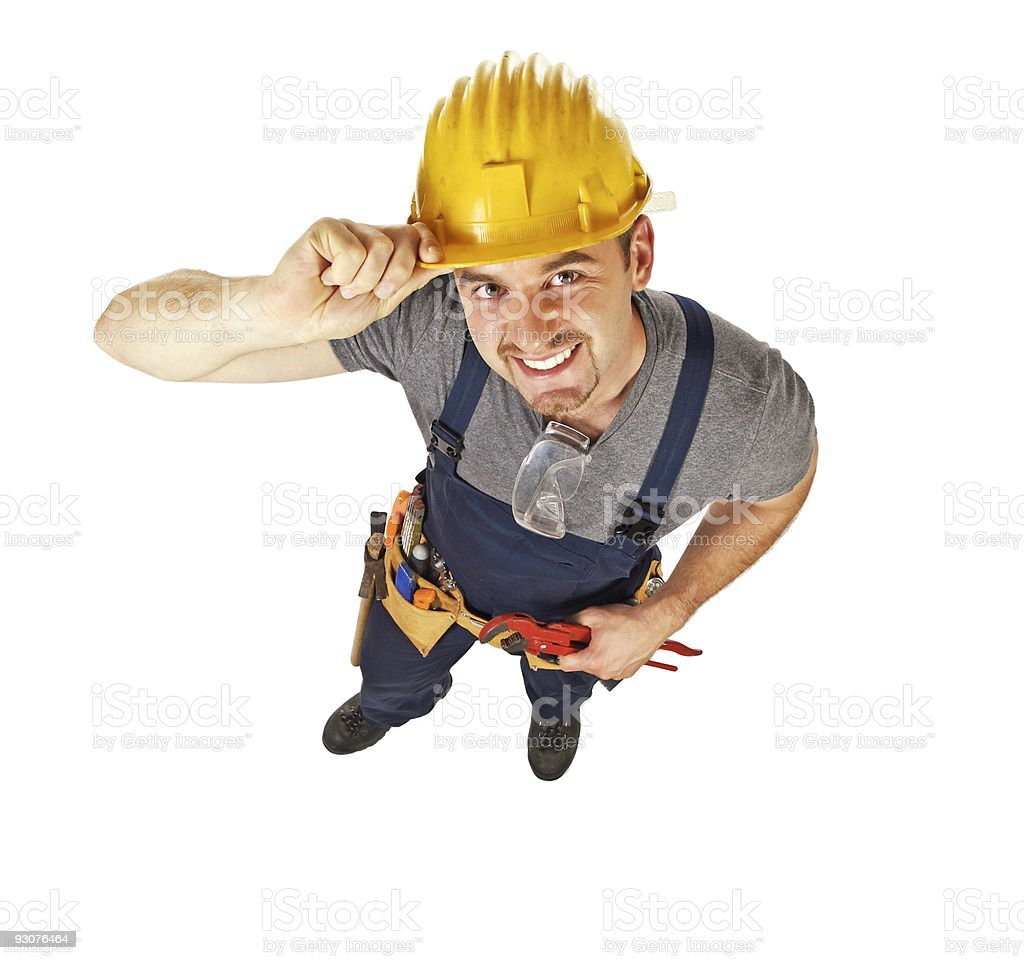 smiling manual worker on white royalty-free stock photo
