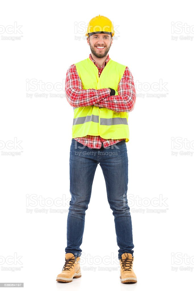 Smiling manual worker stock photo