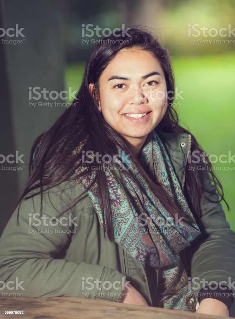 Smiling Maori Woman. stock photo