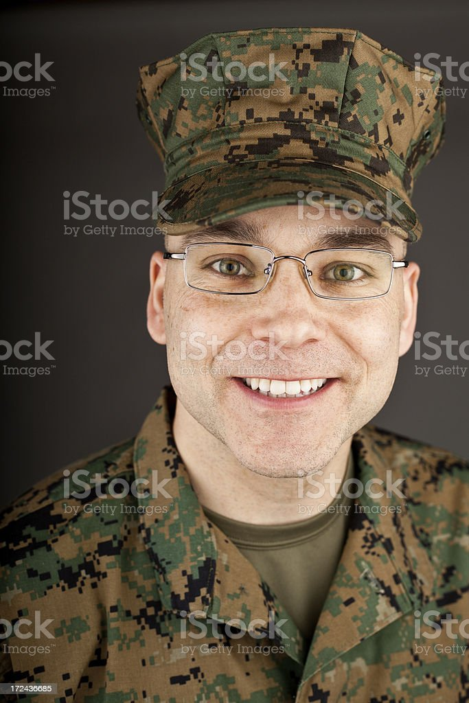 Smiling Marine in Glasses royalty-free stock photo