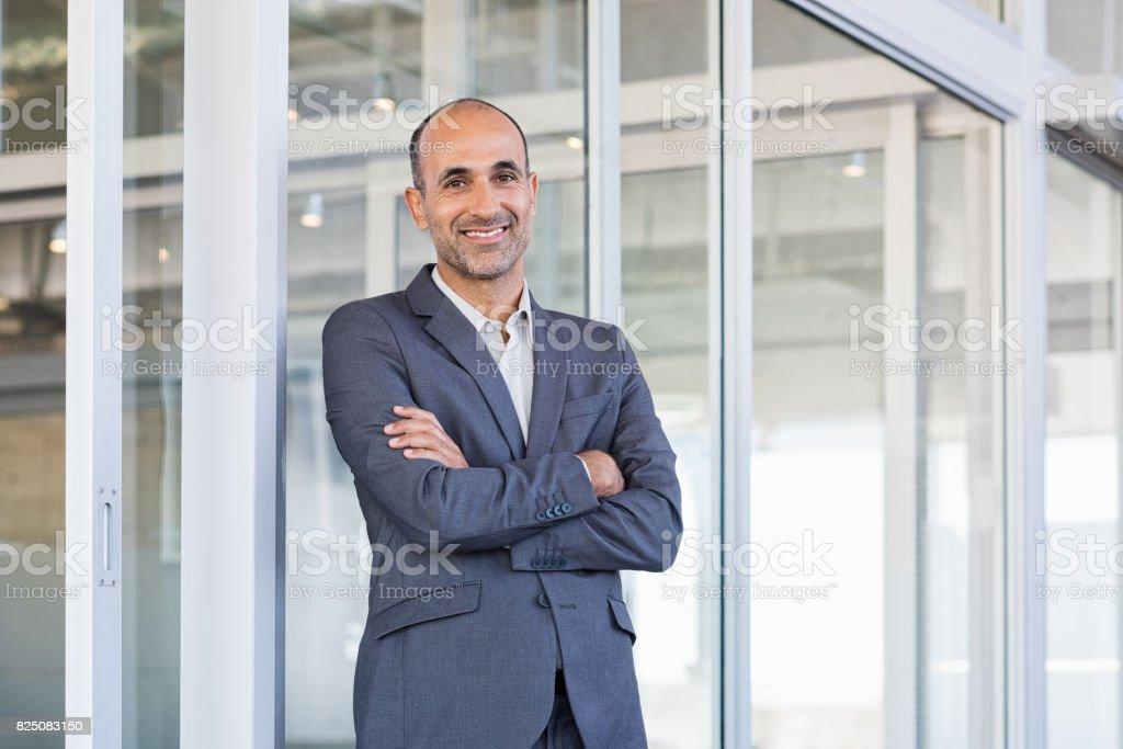 Gülümseyen olgun iş adamı stok fotoğrafı