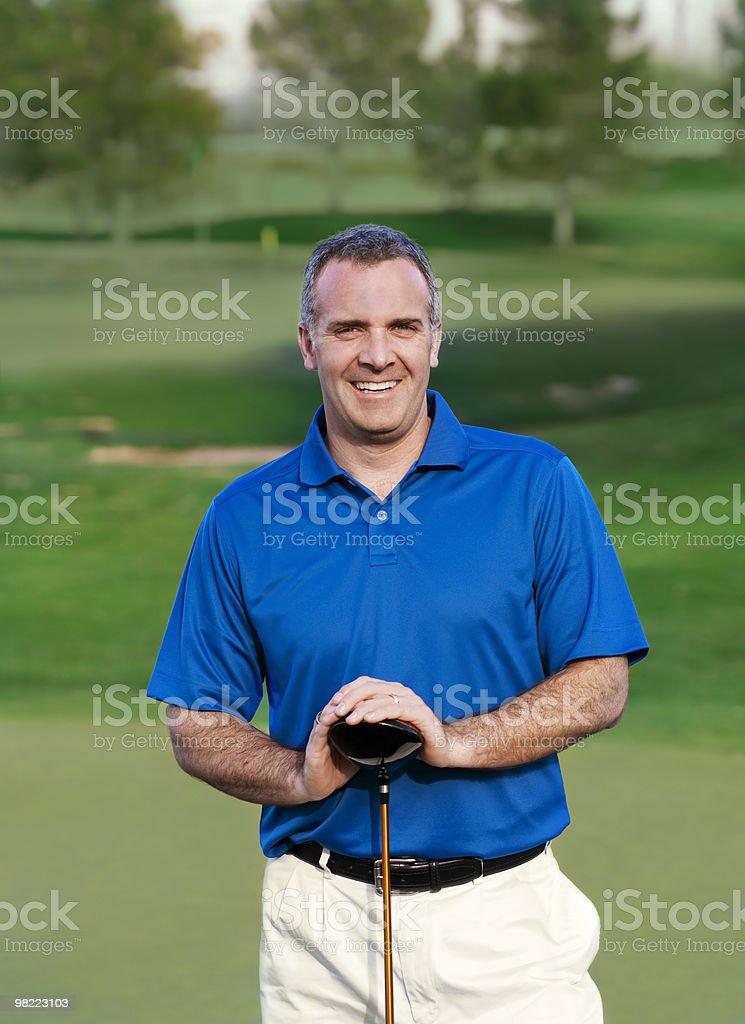 Smiling Mature Golfer royalty-free stock photo