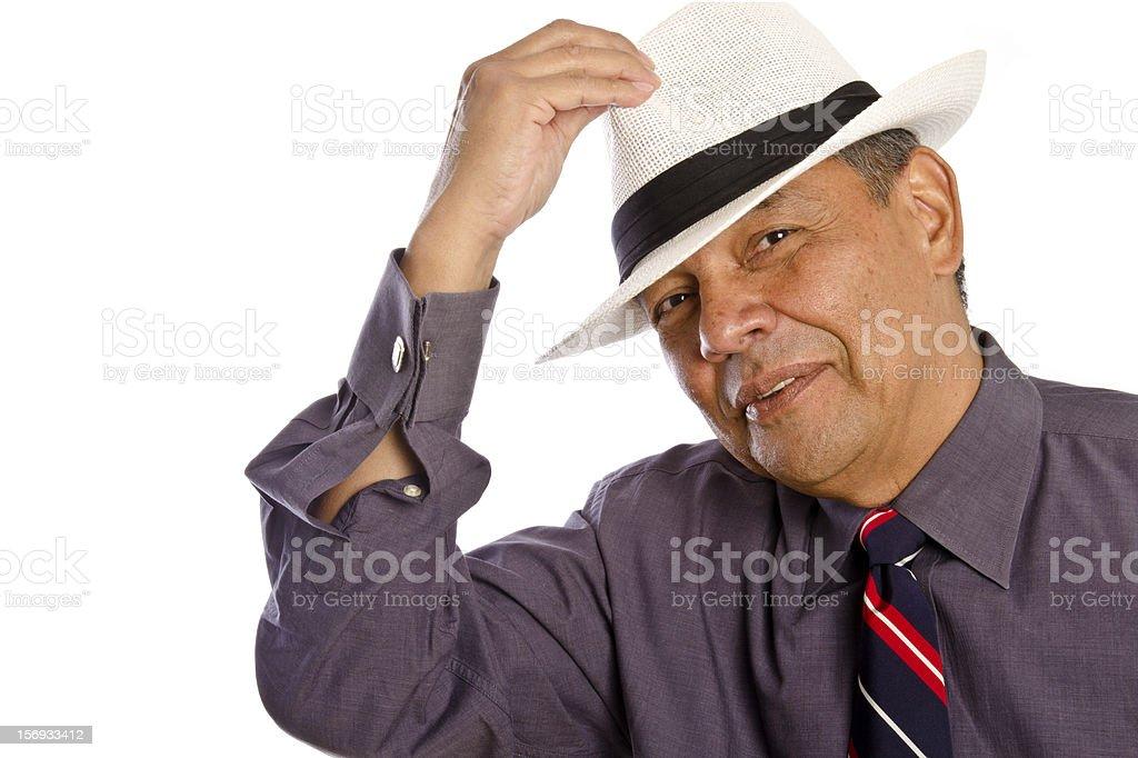 Sonriente hombre maduro hispana celebra un sombrero blanco cubano foto de  stock libre de derechos b2dc55fd1cd