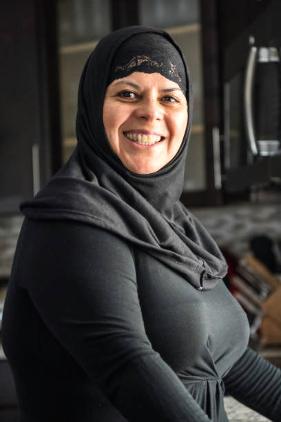 Smiling mature middle eastern woman stock photo