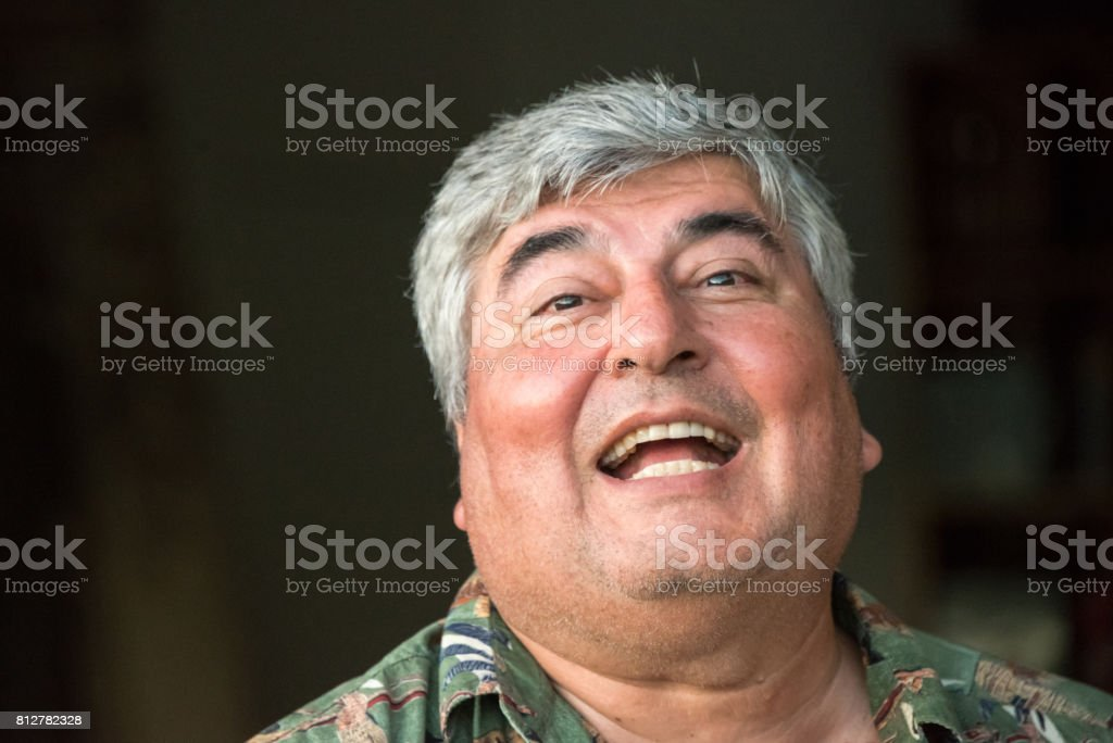 Smiling mature senior man stock photo