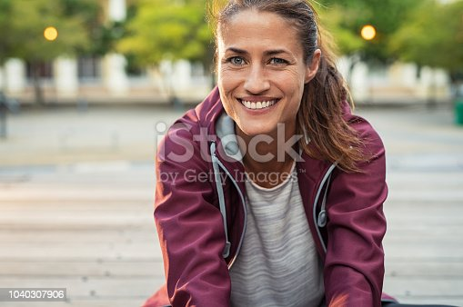 istock Smiling mature sporty woman 1040307906