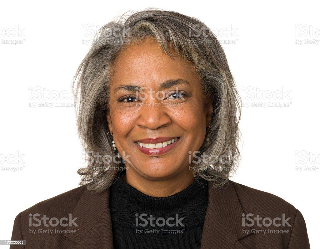 Smiling Mature Woman Headshot Portrait stock photo