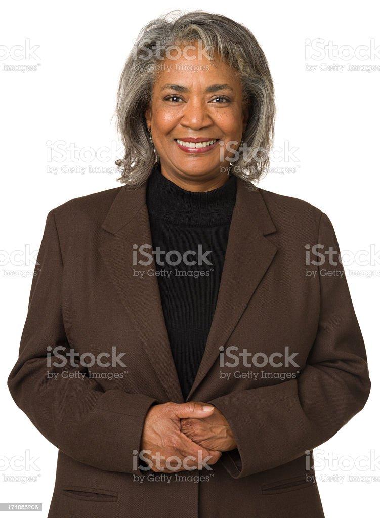 Smiling Mature Woman Waist Up Portrait stock photo