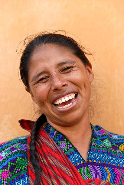 smiling mayan woman stock photo
