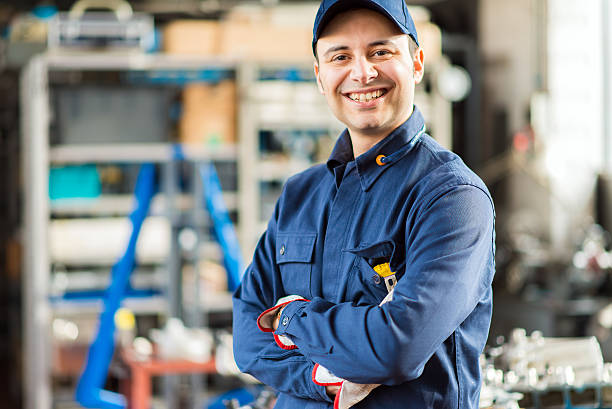 Lächelnd Mechaniker Porträt – Foto