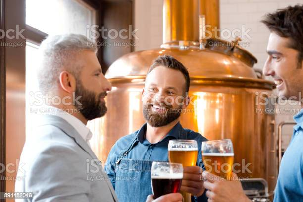 Smiling Men Toasting Beers At Micro Brewery Stock Photo - Download Image Now