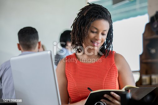 694187664 istock photo Smiling mid adult African American female is working in a coffee shop 1071258398