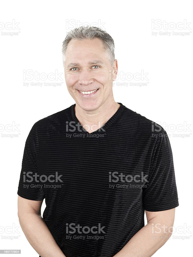 Smiling middle age man with black stripe shirt royalty-free stock photo