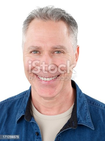 istock Smiling middle age man with blue denim shirt 171259375