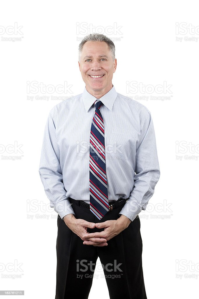 Smiling middle age man with blue shirt and tie royalty-free stock photo