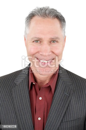 istock Smiling middle age man with pinstripe suit coat 185260228