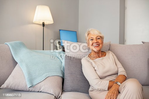1044149594 istock photo Smiling middle aged mature grey haired woman looking at camera 1189607113