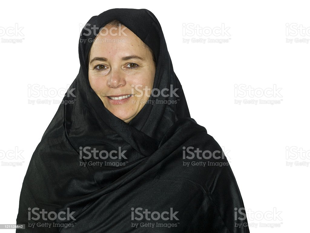 Smiling Middle eastern woman at her fifties stock photo