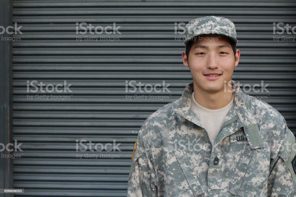 Smiling Military Asian Healthy Man stock photo