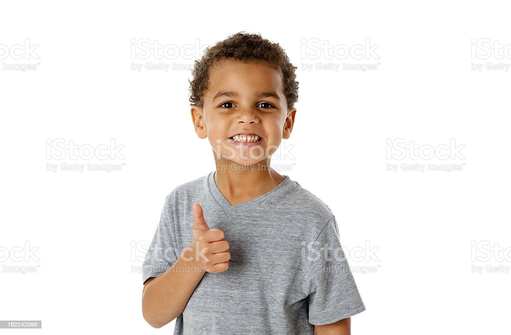 Smiling Mixed Race Little Boy Thumbs Up Approval royalty-free stock photo