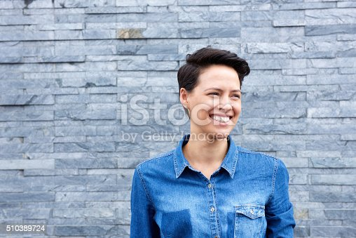 istock Smiling modern woman with short hair 510389724