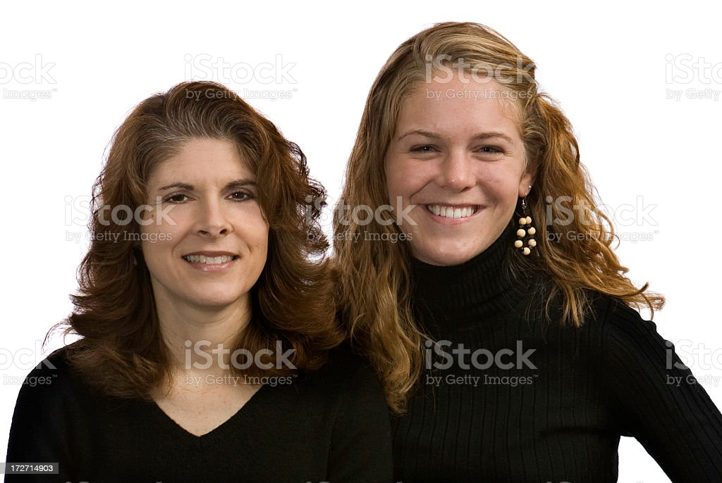 smiling mom and daughter headshot royalty-free stock photo