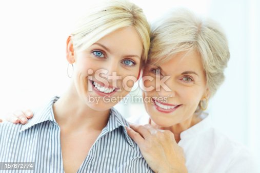 istock Smiling mother embracing young daughter from behind 157672774