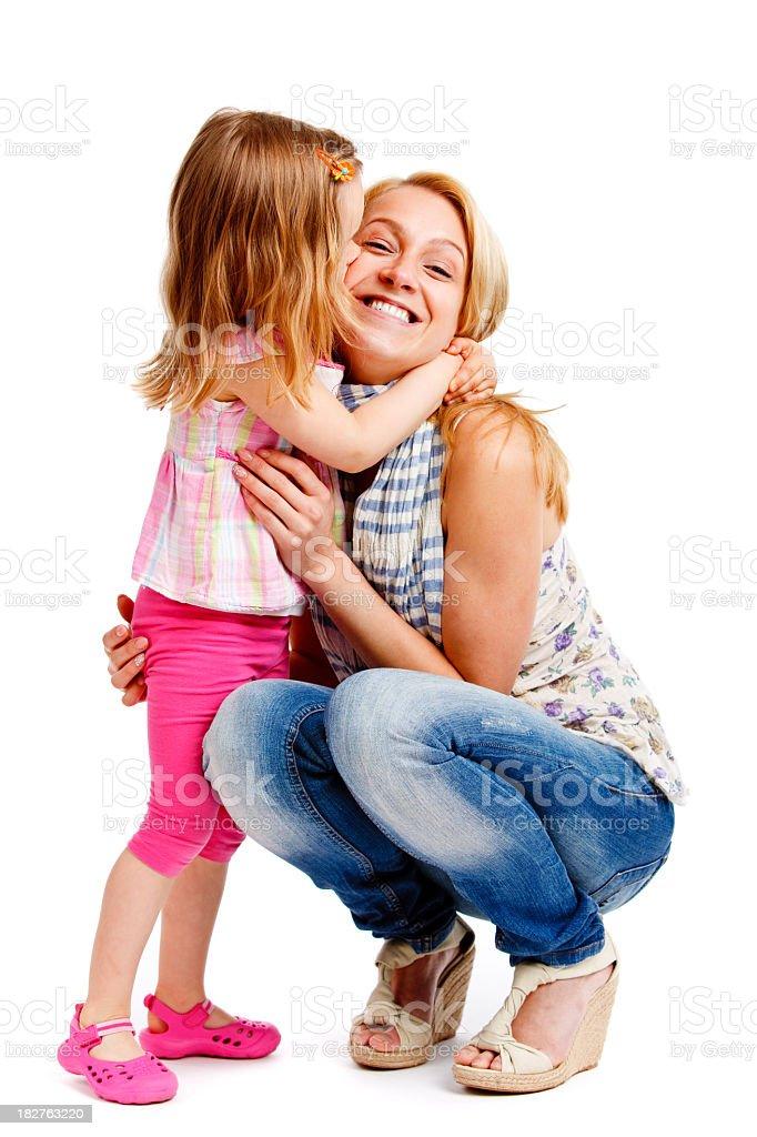 Mère et fille isolé sur blanc - Photo