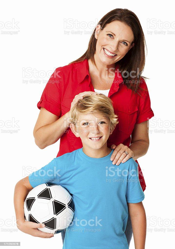 Smiling Mother With Son Holding Football - Isolated royalty-free stock photo