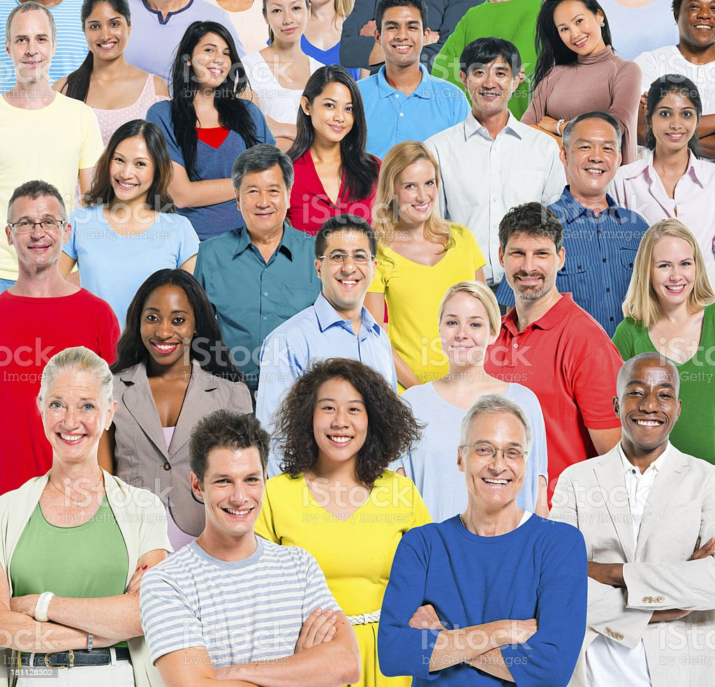 Smiling multi-ethnic group of people royalty-free stock photo