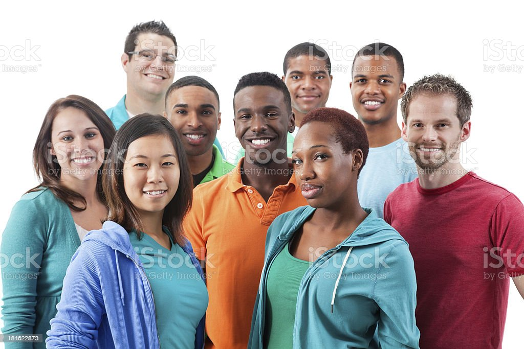 Smiling multiethnic group of young adults royalty-free stock photo