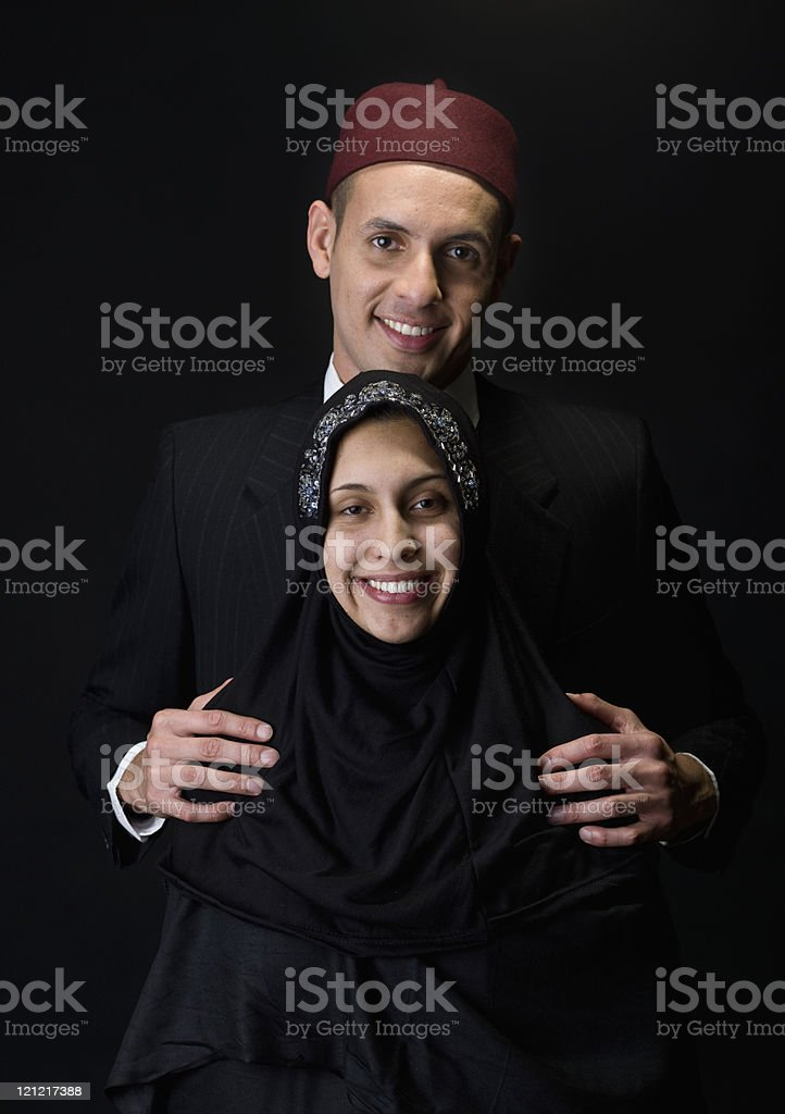 Smiling muslim young couple royalty-free stock photo