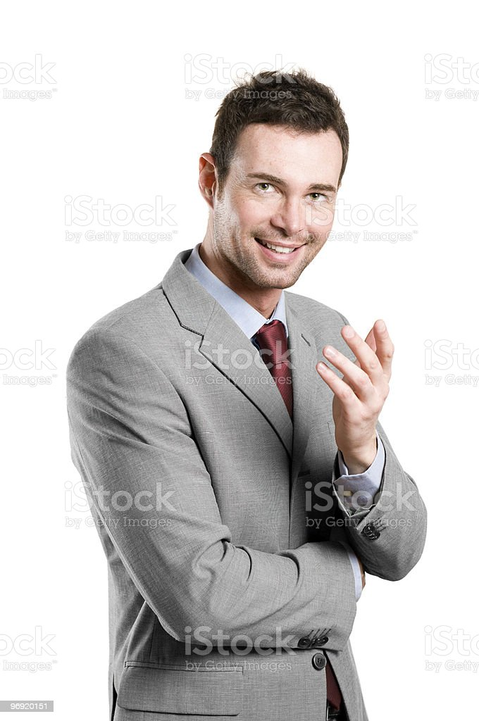 Smiling natural businessman explain royalty-free stock photo