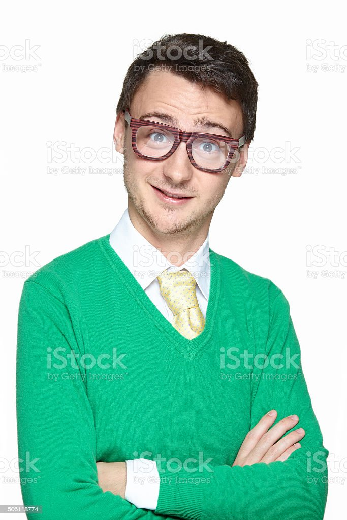 Smiling nerd young man stock photo