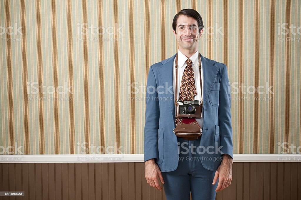 Smiling Nerdy Tourist With Camera royalty-free stock photo