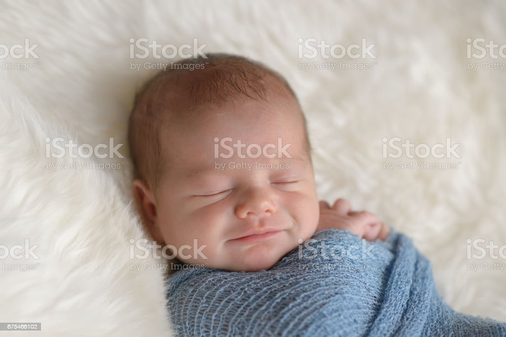 Smiling Newborn Baby Boy stock photo
