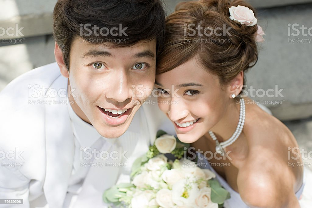 Smiling newlywed couple 免版稅 stock photo