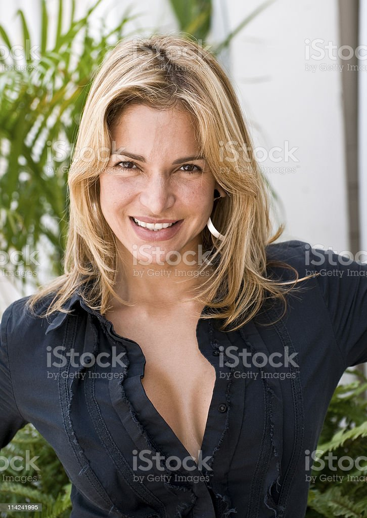 Smiling, no make up royalty-free stock photo