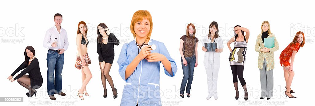 smiling nurse and many people at the background royalty-free stock photo
