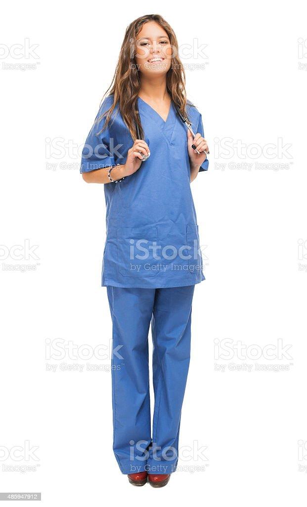 Smiling nurse portrait isolated on white stock photo