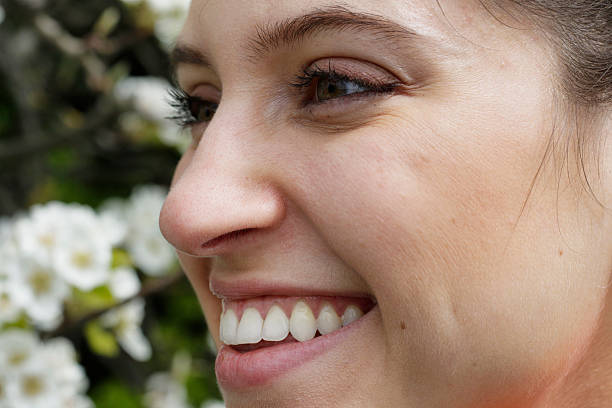 smiling russian outdoor girl close up - whiteway english outdoor girl stock photos and pictures