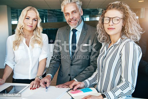 istock Smiling office team looking at camera while working 1019437884