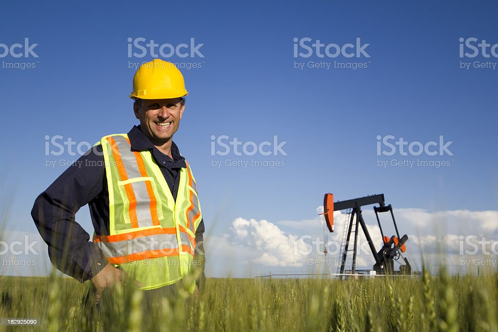 Smiling Oil Worker stock photo