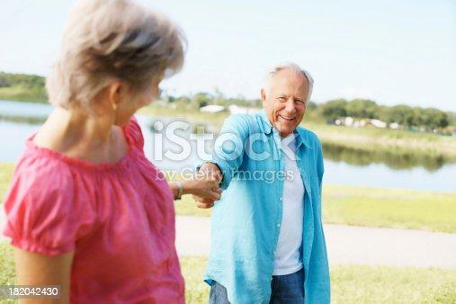 510491454 istock photo Smiling, old couple enjoying their holiday 182042430