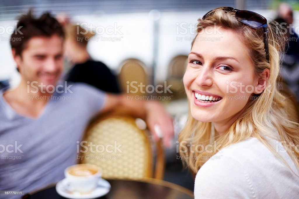 Smiling on date royalty-free stock photo