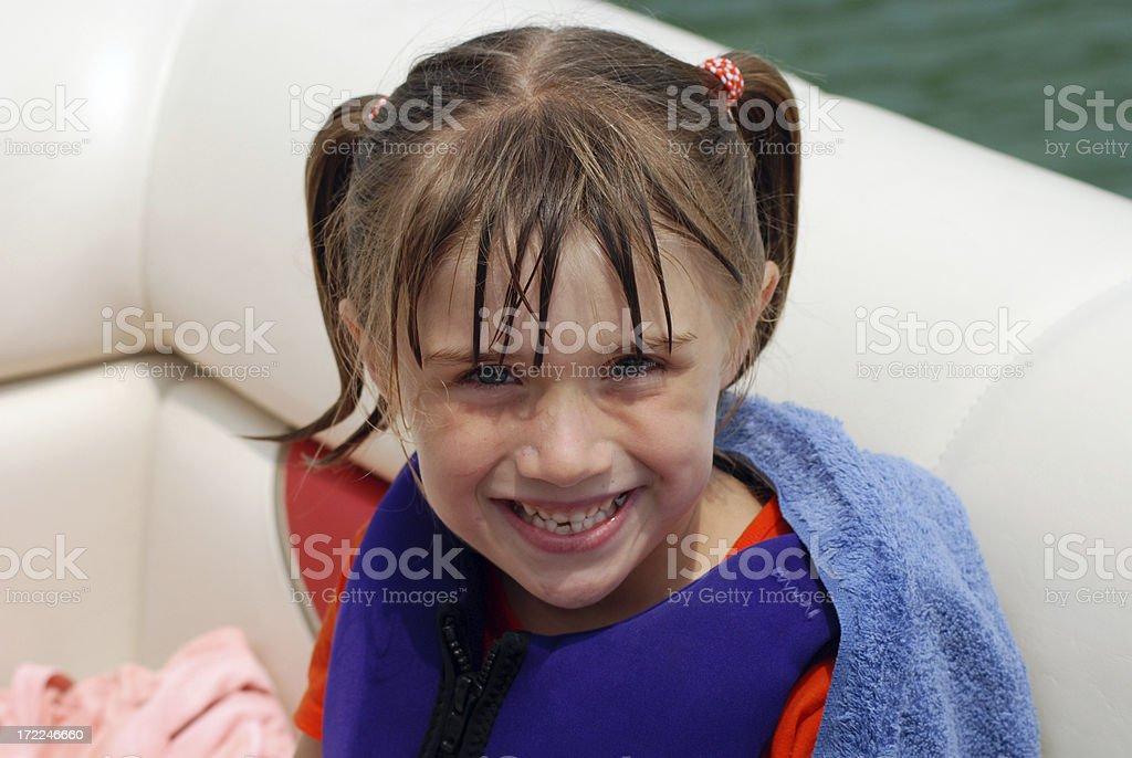 Smiling on the Pontoon stock photo