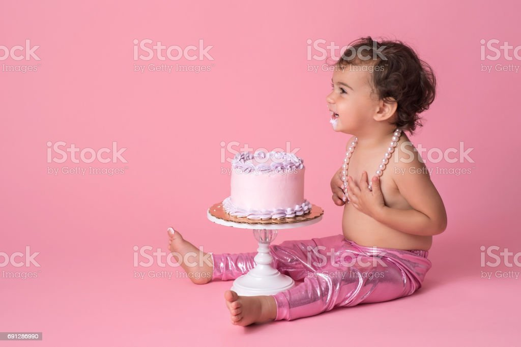 Super Smiling One Year Old Baby Girl With Birthday Cake Stock Photo Funny Birthday Cards Online Alyptdamsfinfo