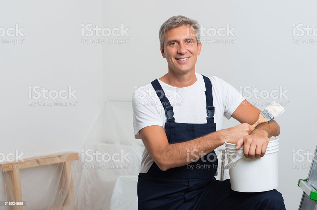 Smiling Painter stock photo